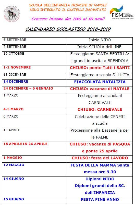 Calendario Scuola Infanzia.Calendario Scuola Dell Infanzia Scuola Infanzia Soave